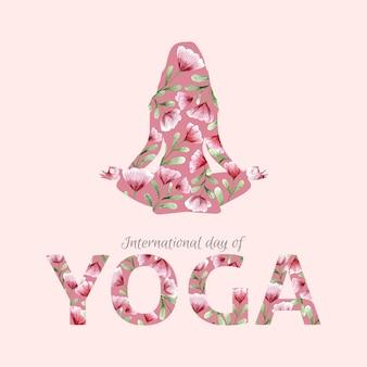 Dia internacional em aquarela de yoga