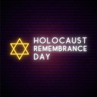 Dia internacional em memória do holocausto em estilo neon.