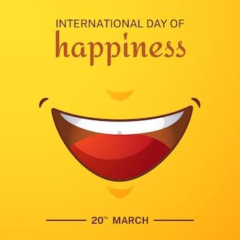 Dia internacional gradiente da ilustração da felicidade com sorriso