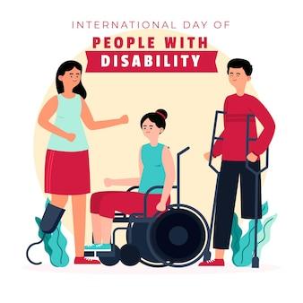 Dia internacional ilustrado das pessoas com deficiência