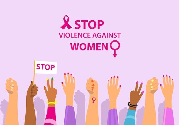 Dia internacional para a eliminação da violência contra as mulheres protesto feminino levanta a mão para impedir a violência