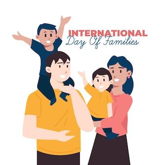 Dia internacional plana da ilustração de famílias