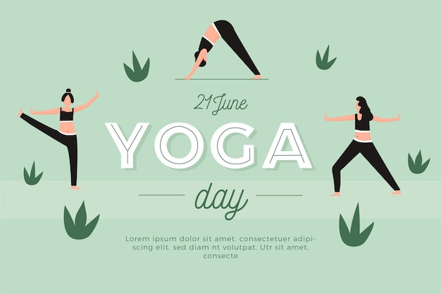 Dia internacional plana de yoga e folhas