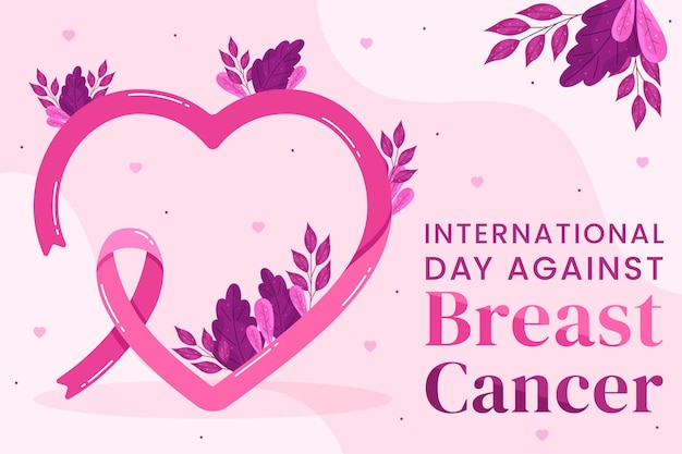 Dia internacional plano contra fundo de câncer de mama