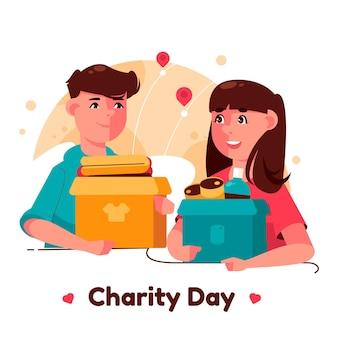 Dia internacional plano da ilustração de caridade