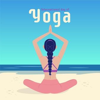 Dia internacional plano da ilustração de ioga