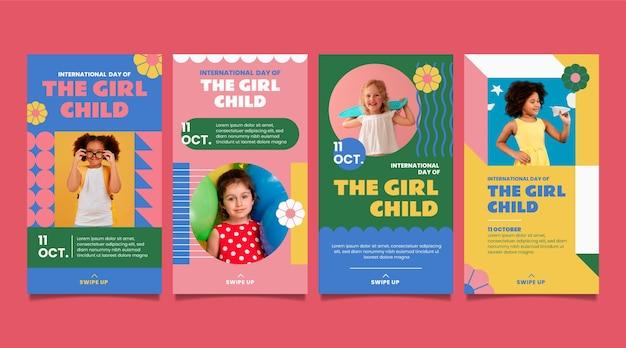 Dia internacional plano desenhado à mão da coleção de histórias do instagram de crianças meninas