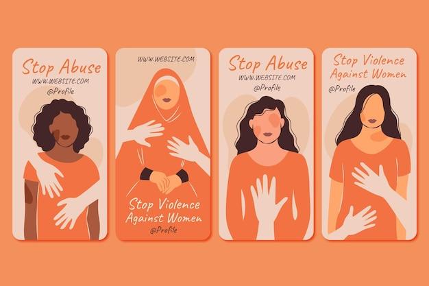 Dia internacional plano desenhado à mão para a eliminação da violência contra as mulheres coleção de histórias do instagram