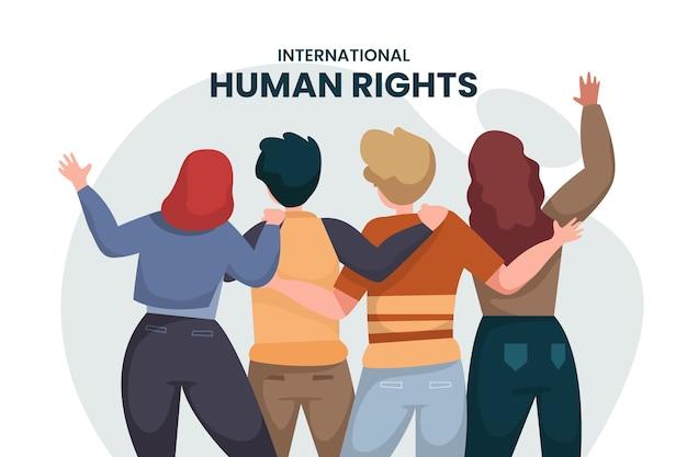 Dia internacional plano dos direitos humanos com várias pessoas