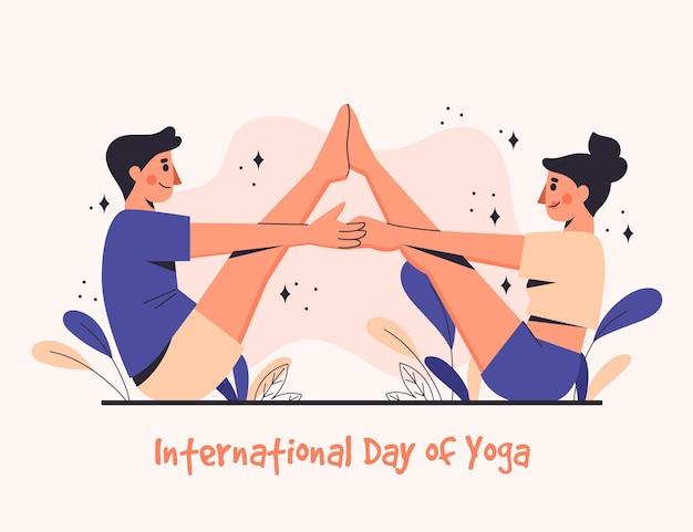 Dia internacional plano orgânico da ilustração de ioga