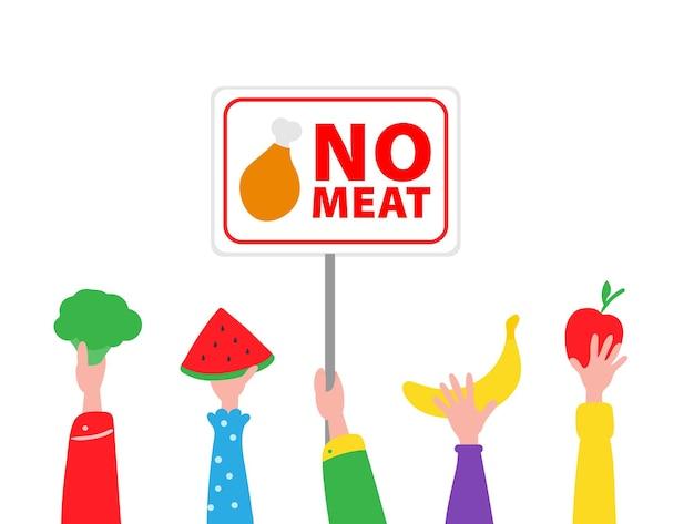 Dia internacional sem carne Vetor Premium