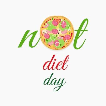 Dia internacional sem dieta. pizza saborosa e brilhante com linguiça e legumes. comida rápida. ilustração em vetor plana.