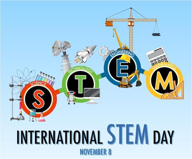 Dia internacional stem em 8 de novembro banner com logotipo stem