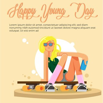 Dia jovem, mulheres, em, skateboard