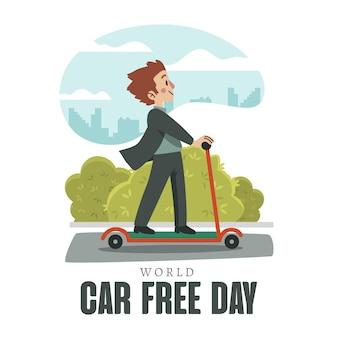 Dia livre mundial de mão desenhada design carro