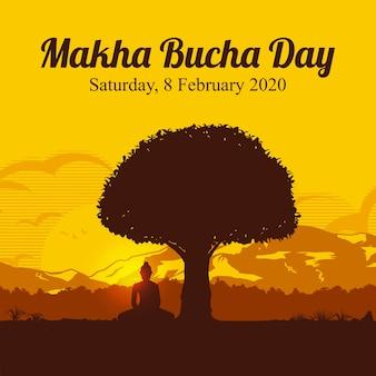 Dia makha bucha, silhueta de buda sentado sob a árvore bodhi (figueira sagrada)