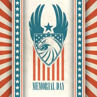 Dia memorial. cartão tipográfico com a bandeira americana e águia.