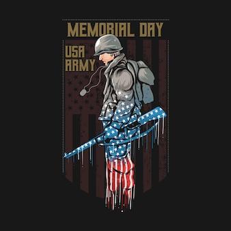 Dia memorial do exército dos eua com arte finala da bandeira da américa