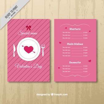 Dia menu de rosa com corações e listras
