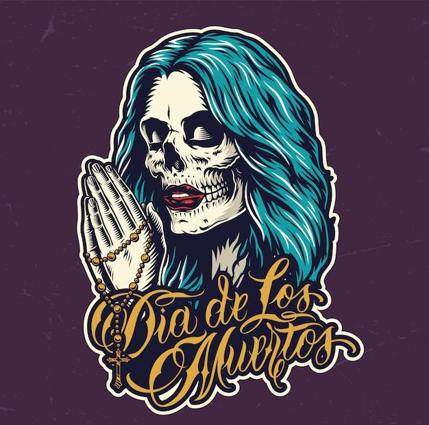 Dia mexicano de impressão colorida morta