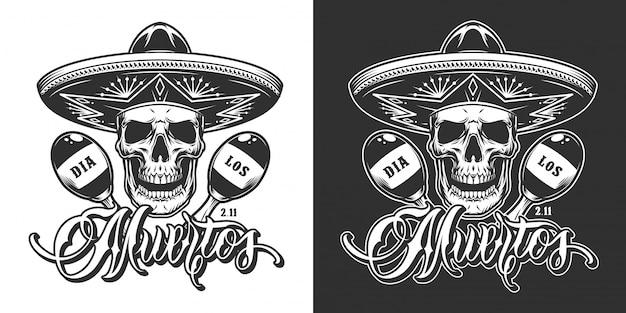 Dia mexicano de impressão vintage morto
