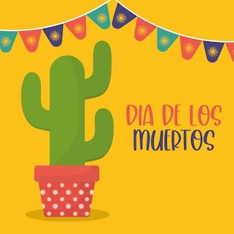Dia mexicano do cacto morto com desenho de flâmula de banner, tema da cultura do méxico.