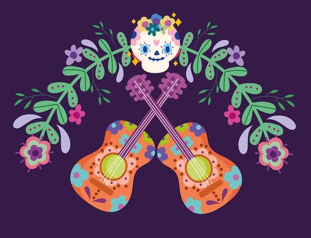 Dia mexicano dos mortos açúcar caveira guitarra flores cultura festiva ilustração tradicional
