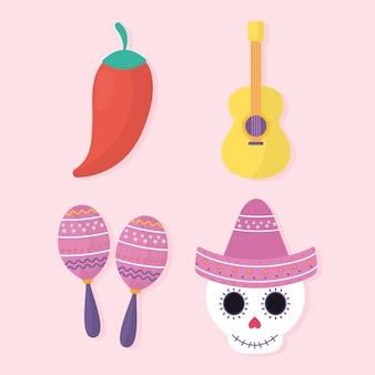 Dia mexicano dos mortos definir o design dos ícones, o tema da cultura do méxico.