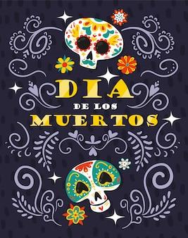 Dia mexicano morto celebração floral ilustração ornamental com caveira