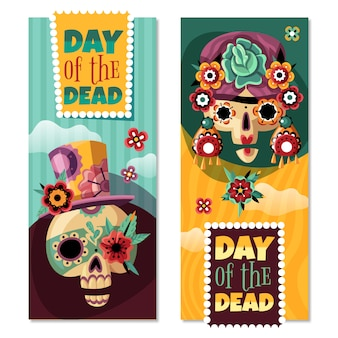 Dia morto 2 banners verticais decorativos coloridos conjunto com engraçado ornamentado com sculls de flores