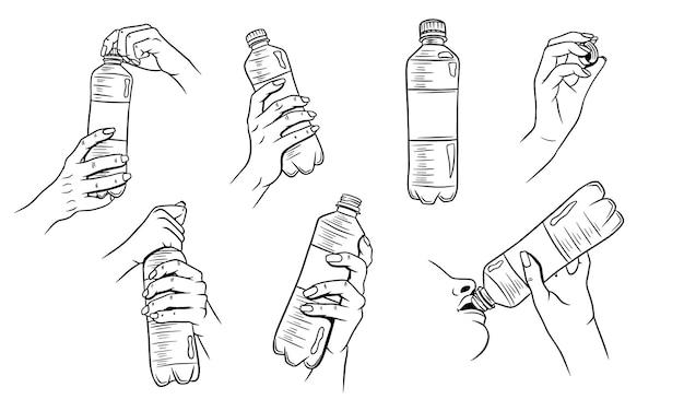 Dia mundial da água. água em uma garrafa de plástico. garrafa de água na mão. conjunto de ilustrações.