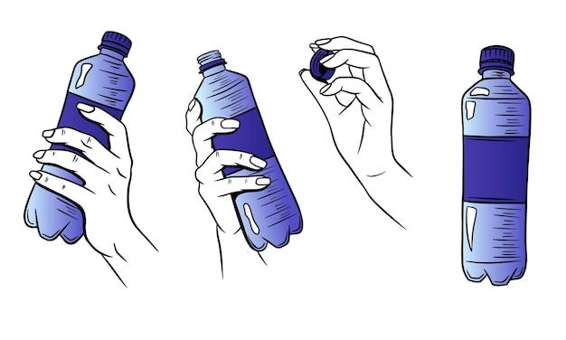 Dia mundial da água. água em uma garrafa de plástico. garrafa de água na mão.