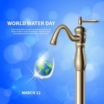 Dia mundial da água anunciando pôster azul com guindaste de água e imagem de terra verde em fundo de gota realista
