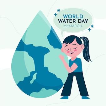 Dia mundial da água desenhado à mão