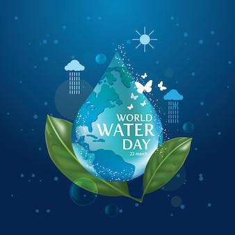 Dia mundial da água, salve o modelo de design da água