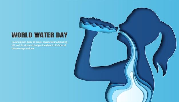Dia mundial da água, uma mulher bebendo água, e a água flui por seu corpo.