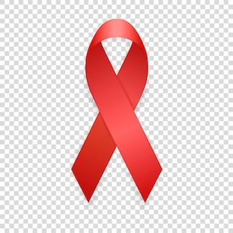 Dia mundial da aids - 1º de dezembro. close up realista do modelo de fita vermelha isolado no fundo da grade de transparência. conceito de conscientização de aids. ilustração em vetor eps10.