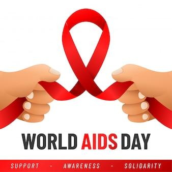 Dia mundial da aids. auxilia a consciência fita vermelha.