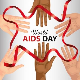 Dia mundial da aids com bandeira de mão e fita