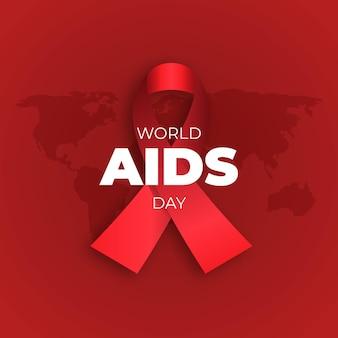 Dia mundial da aids com fita vermelha ilustrada