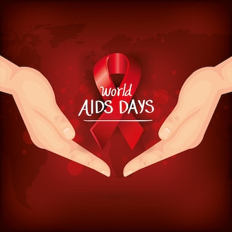 Dia mundial da aids com mãos e fita