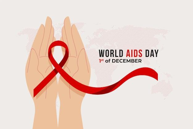 Dia mundial da aids com mapa e fita