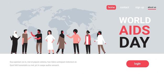 Dia mundial da aids consciência pessoas grupo comunicação prevenção médica