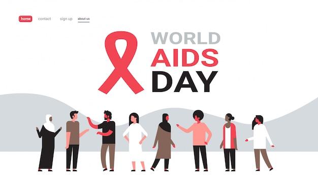 Dia mundial da aids conscientização sinal fita vermelha pessoas grupo comunicação médica prevenção