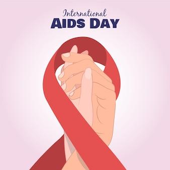 Dia mundial da aids desenhado à mão