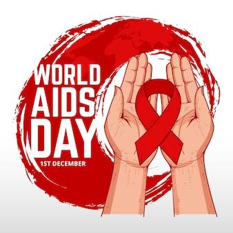 Dia mundial da aids do design desenhado à mão