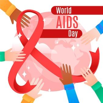 Dia mundial da aids do flat design