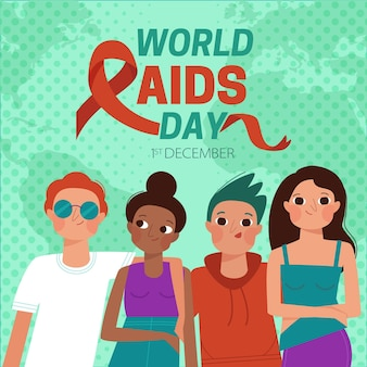 Dia mundial da aids do flat design