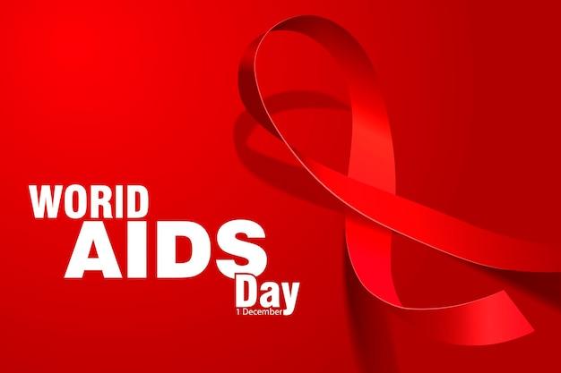 Dia mundial da aids. laço vermelho. ilustração vetorial