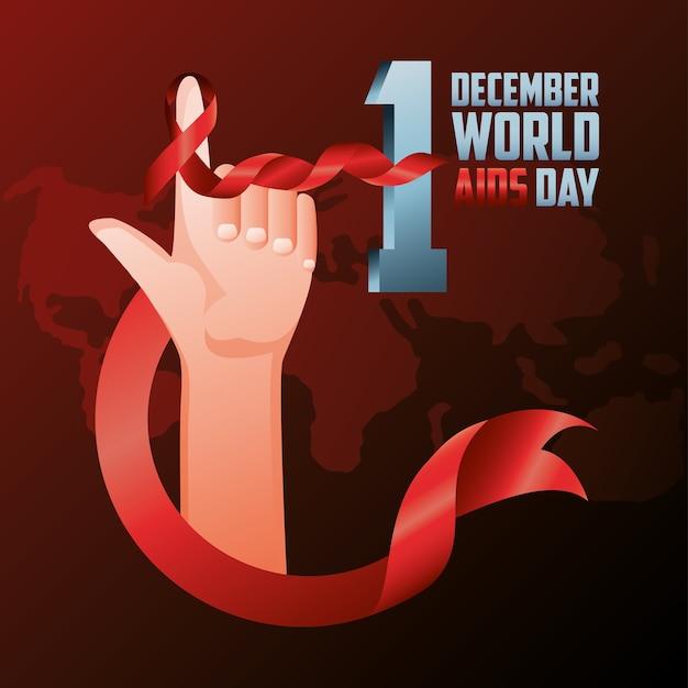 Dia mundial da aids, mão levantada com ilustração de dedo enrolado em fita